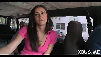 Horny man teases and pokes a picked up bab in a bus