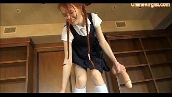Young School Girl Jumps on Huge Dildo