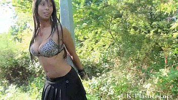 Ebony teen babe flashes tits and pussy outdoors of daring young black exhibition
